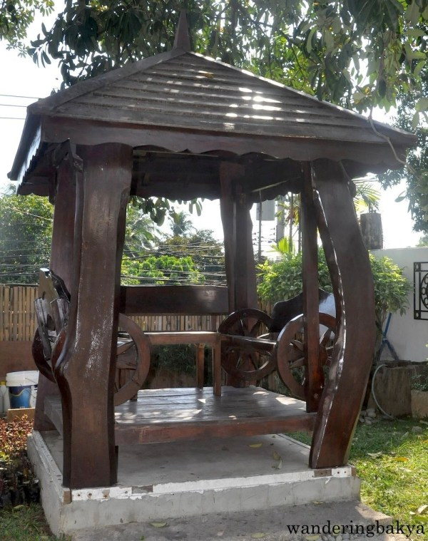 This is one of the two wooden sitting areas in the garden of Wisdom Park.