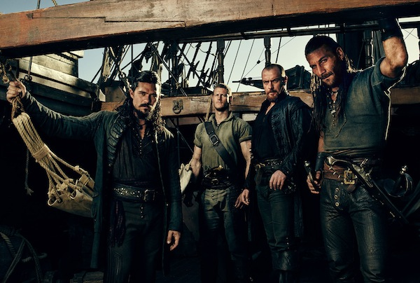 The men of Black Sails. From left to right: John Silver (Luke Arnold), Billy Bones (Tom Hopper), Captain James Flint (Toby Stephens), and Charles Vane (Zach McGowan). Photo from collider.com