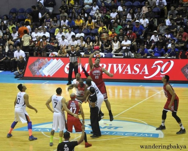 Jump ball between Barangay Ginebra and Meralco Bolts