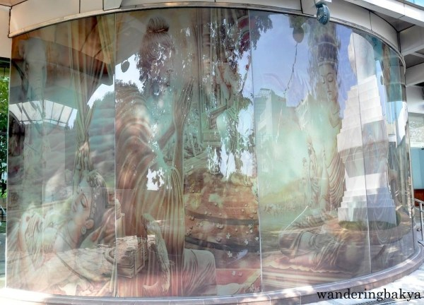 The floor-to-ceiling depiction of Buddha's life is also seen from outside the building.