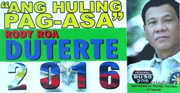 """Ang Huling Pag-asa"" (The last hope) sticker for Rody Roa Duterte."