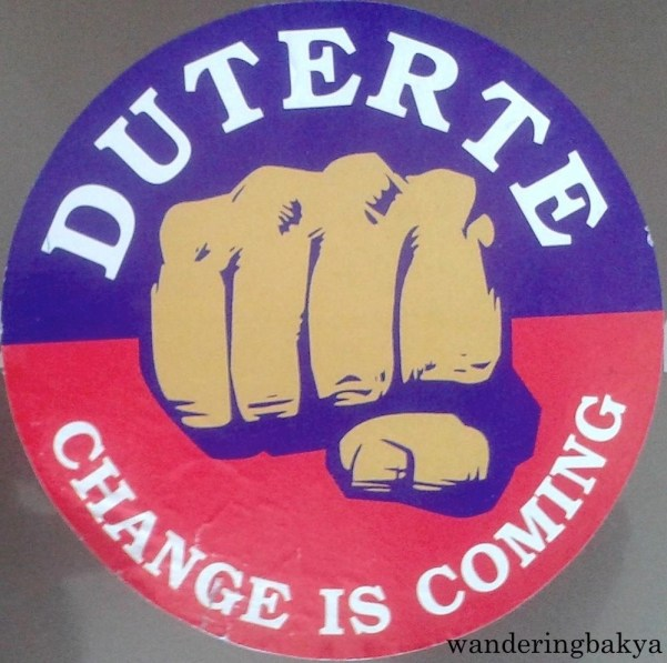 """Duterte - Change is Coming sticker. This is my favorite because it is a reference to the Stark's """"Winter is coming"""" house motto of Game of Thrones. Photo by JS"""