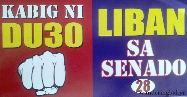 Duo sticker for Duterte and Dante Liban, a candidate for senator. Dante Liban, a three-termer Congressman from District II of Quezon City, needs our votes. If Dante Liban is good enough for Duterte, I think it is only fair to look him up and read about him. Photo by JS