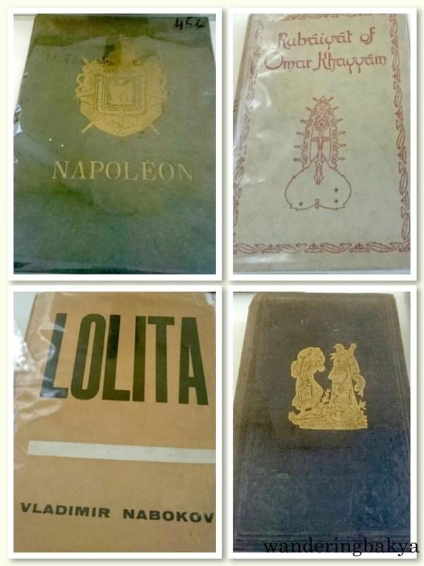Clockwise from the top: Copies of Napoléon, The Rubáiyát of Omar Khayyám, The Pilgrim's Progress by John Bunyan and Lolita by Vladimir Nabokov. Photos by SPRDC.