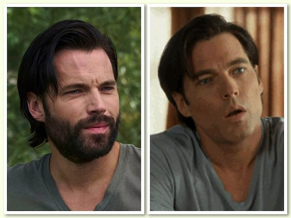 Schitt's Creek's Mutt Schitt (Tim Rozon) with and without facial hair. Photos from twitter.com and giphy.com