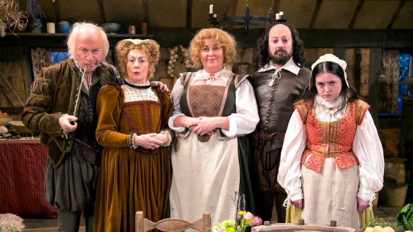 Upstart Crow's Shakespeare family: John Shakespeare (Harry Enfield), Mary Arden (Paula Wilcox), Anne Hathaway (Liza Tarbuck), William Shakespeare (David Mitchell), and Susanna Shakespeare (Helen Monks). Photo from dansmediadigest.co.uk