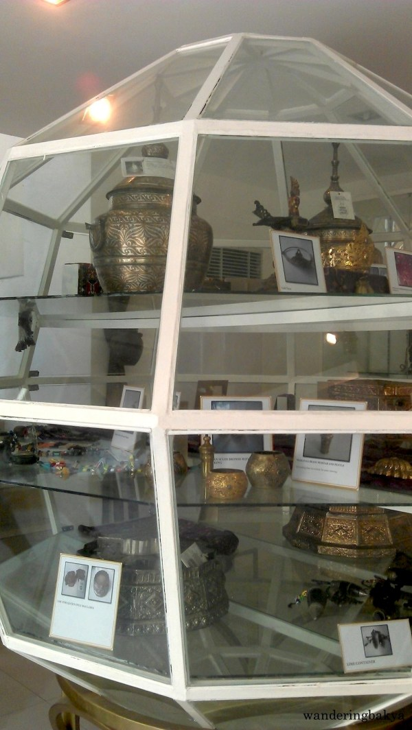 The contents of one of the spherical glass displays of The Book Museum cum Ethnology Center – Southern Philippines