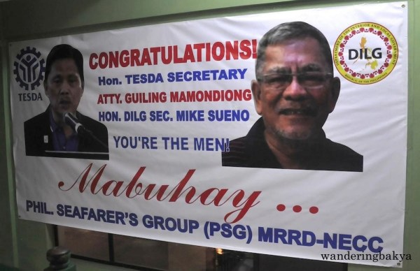 Tarpaulin welcoming guests at the thanksgiving dinner, courtesy of Philippine Seafarer's Group (PSG).