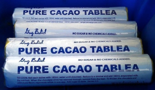 Gng. Bukid Pure Cacao Tablea, No Sugar & No Chemicals Added. It has directions how to make a great cacao tablea drink.
