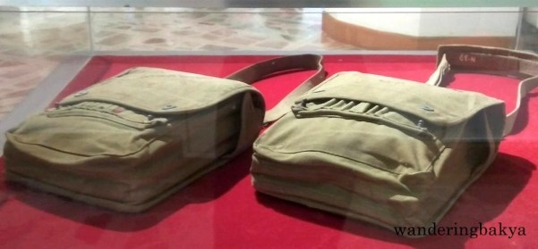 Military shoulder bags, presumably owned by Manuel Roxas
