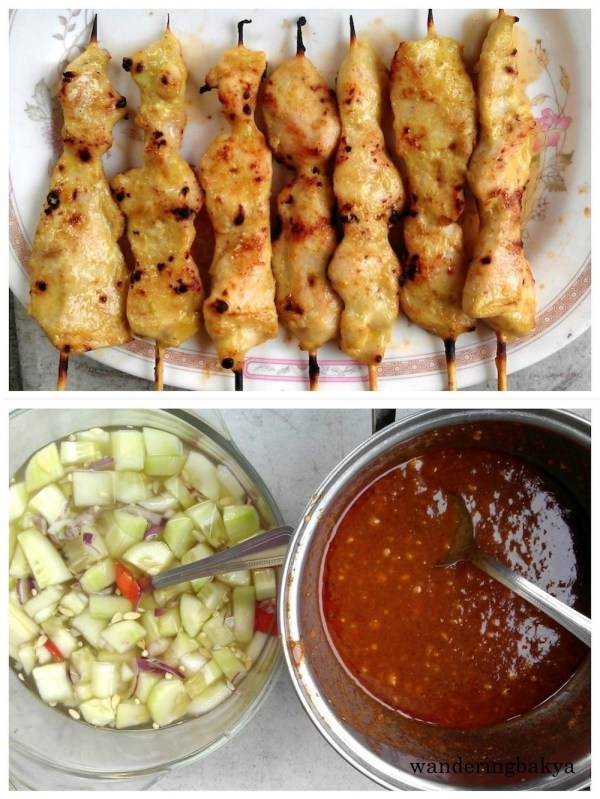 Maybe if I had bought these chicken satay, 4 sticks for P120.00 (US $2.58), I would have been more satisfied. The photo at the bottom shows fresh cucumber salad and chicken satay sauce.
