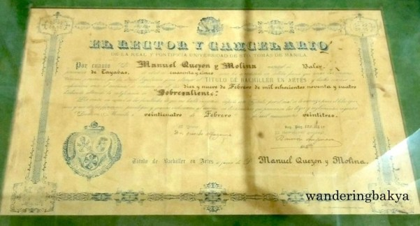 Manuel L. Quezon's Diploma from University of Santo Tomas (UST), Certificate of Completion on Bachelors of Arts degree on February 19, 1894. This was issued on February 24, 1923. He got sobresaliente (excellent).