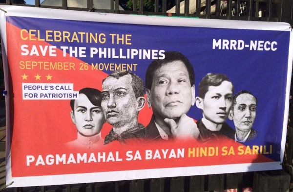 A tarpaulin by September 26 Movement shows President Duterte with some of the greatest Filipino heroes. Photo by Miley Tray