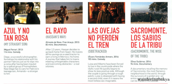 Summary and other details of Azul y no tan Rosa (My Straight Son) by Miguel Ferrari, El Rayo (Hassan's Way) by Ernesto de Nova and Fran Araujo, Las Ovejas no Pierden el Tren (Sidetracked) by Álvaro Fernández Armero, and Sacromonte, Los Labios de la Tribu (Sacromonte, the Wise of the Tribe) by Chus Gutiérrez.
