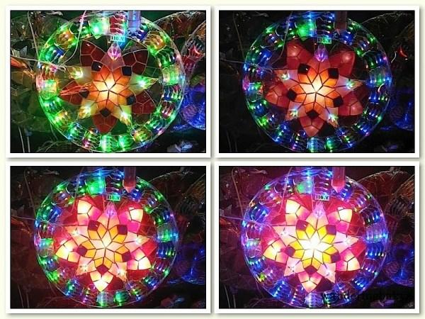 The kaleidoscope of colors of a Capiz lantern.