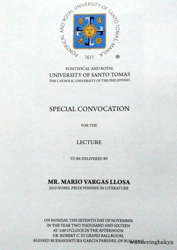 Cover page of the program for the Special Convocation for the lecture to be delivered by Mario Vargas Llosa (2010 Nobel Prize Winner in Literature) at the Pontifical and Royal University of Santo Tomas.