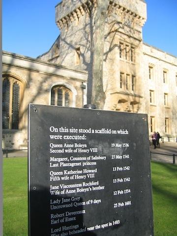 Following the Anne Boleyn Trail, the Tower of London where she was beheaded.
