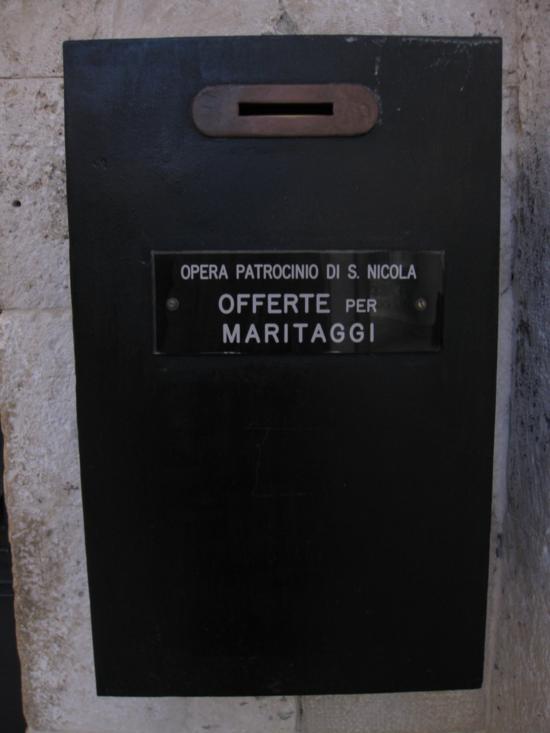 Photo tour of Puglia: Marriage Offering box in Basilica di San Nicola, Bari