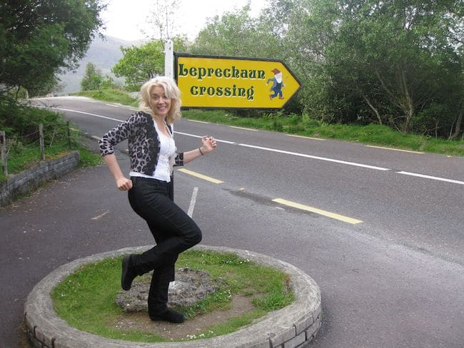Wandering Carol in Ireland at a leprechaun crossing