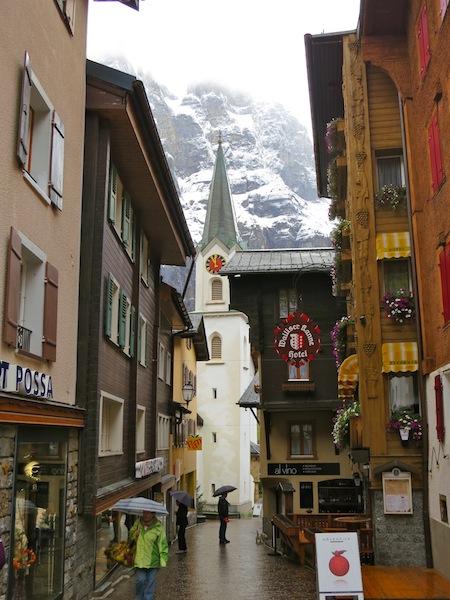 Gemmi Pass and Swiss alpine spa town Leukerbad