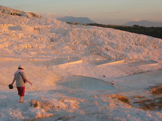 Turkey, Pamukalle Hot Springs White-Hillside-2