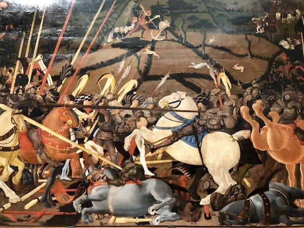 A painting not to miss at the Uffizi Gallery in Florence, Battle of San Romano by Uccello
