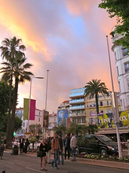 Colourful sky at Cannes Film Festival opening night