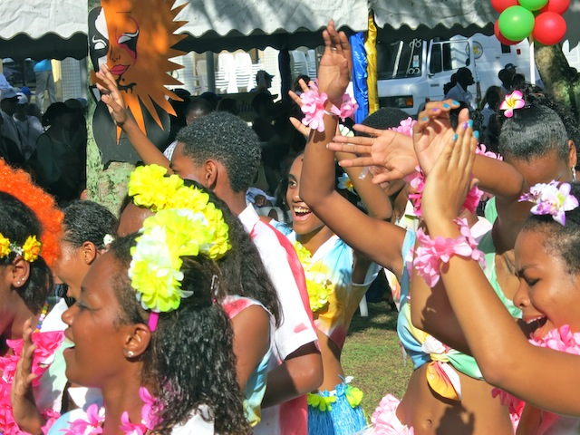 People partying at Seychelles Carnival