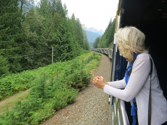 Wandering Carol on the Rocky Mountaineer train