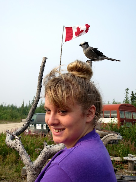Girl with bird on her head at Big Sky Expeditions in Churchill