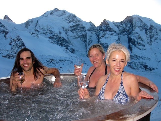Hot tub heaven. Blogging from the road St Moritz