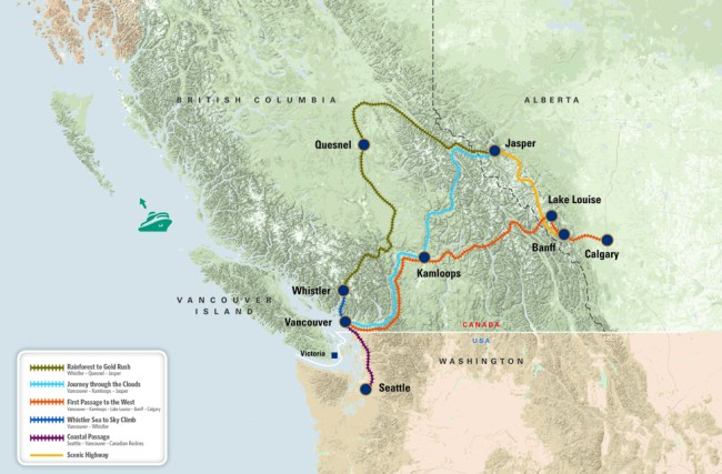 Rocky Mountaineer Routes map
