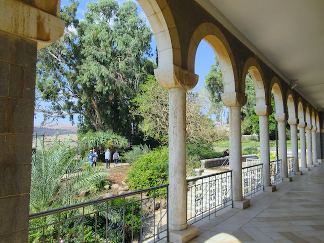 Visiting the Mount of Beatitudes colonnade