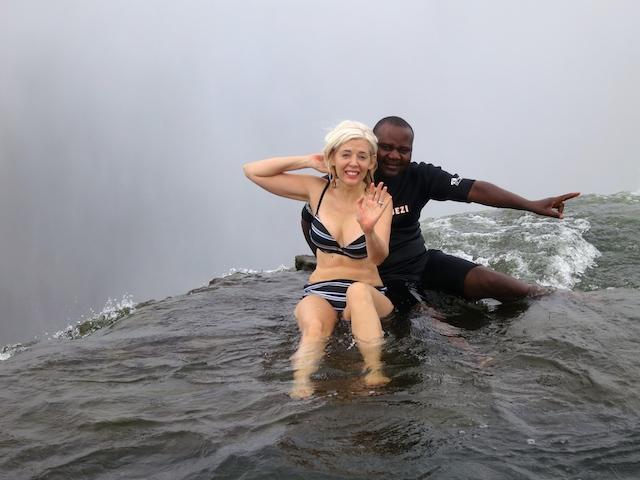 Wandering Carol at Victoria Falls Devil's Pool