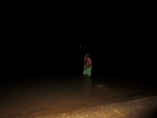 Dead Sea floating at night