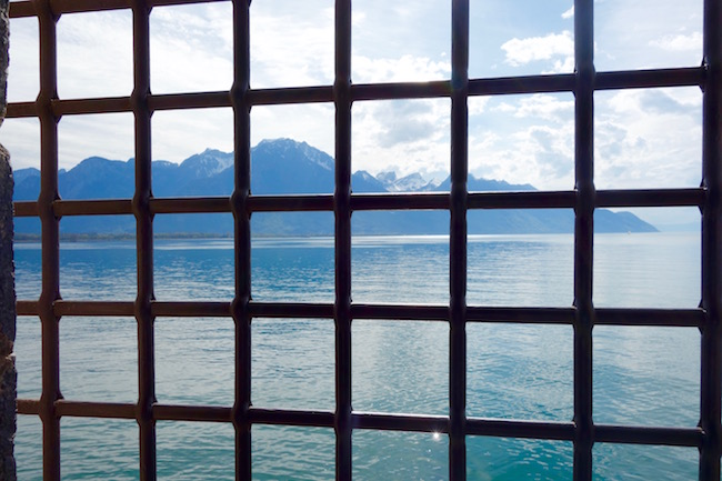 View of Lake Geneva from Chillon Castle