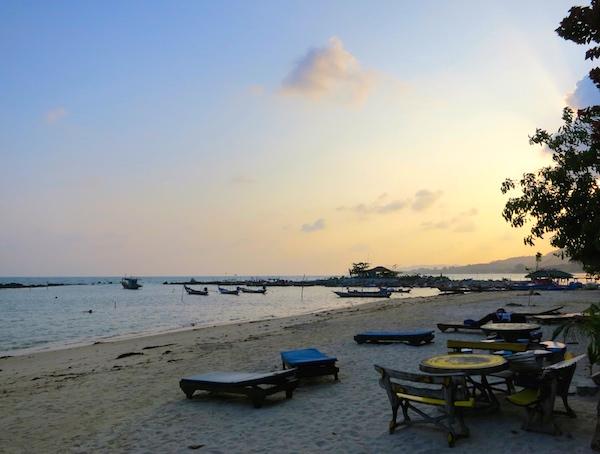 Beach at sunset in Koh Samui