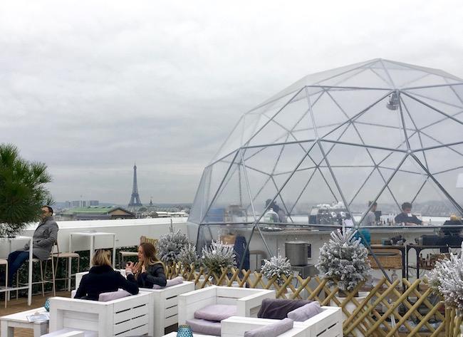 Galeries Lafayette Haussman rooftop bar romantic Paris in winter