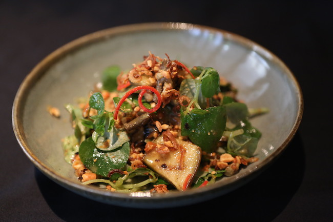 Cambodia cusine in Siem Reap, Eggplant salad at Park Hyatt