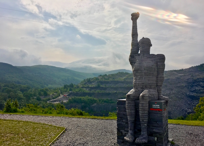 Slate statue at Zip World Penrhyn Quarry Wales