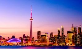 View of Toronto, Ontario, skyline at night.