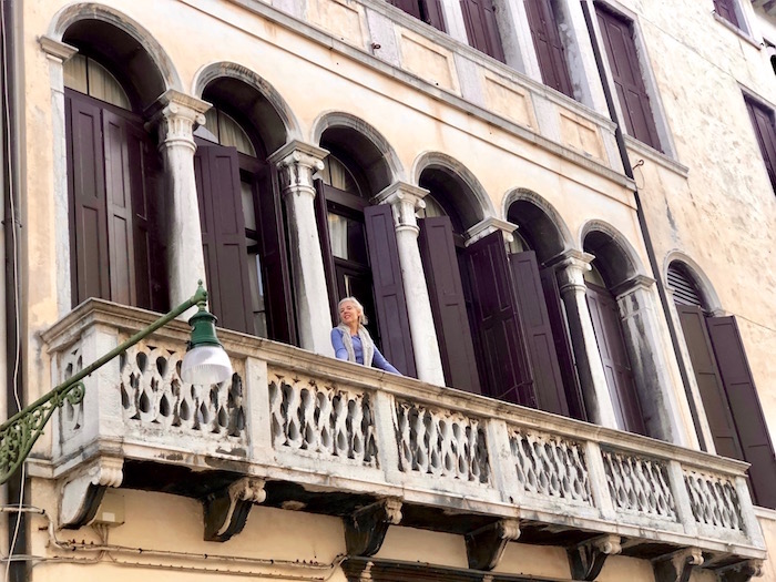 Balcony on Palazzo Grimani Venice vacation apartment
