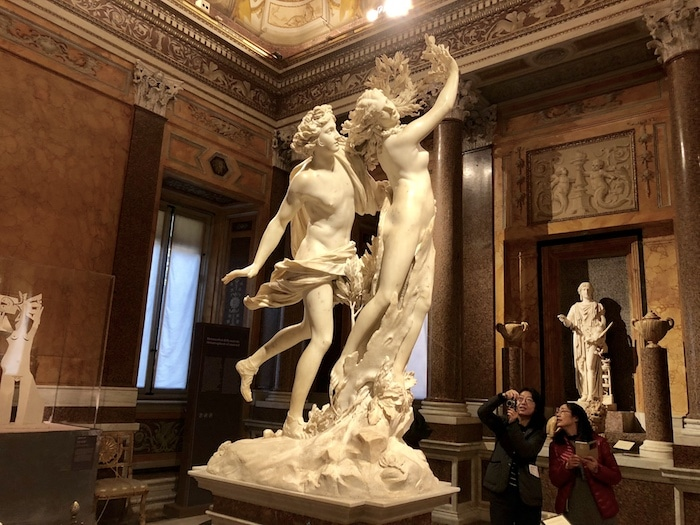 The best sculpture in Rome, Apollo and Daphne by Bernini in the Borghese Gallery