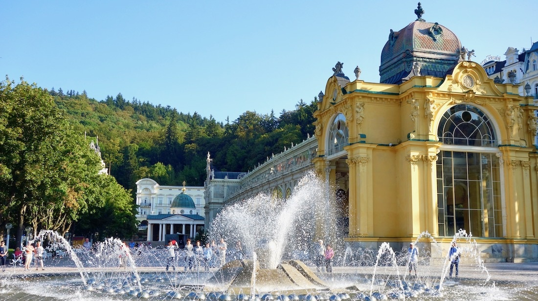 Czech spa towns, fountain and colonnade at Marianske Lazne