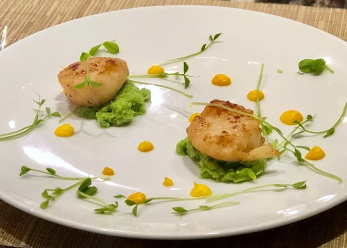 Scallop appetizer at Cabin restaurant at Hockley Valley Resor Ontario, Canada