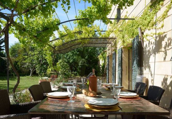 Terrace on a luxury vacation rental in France