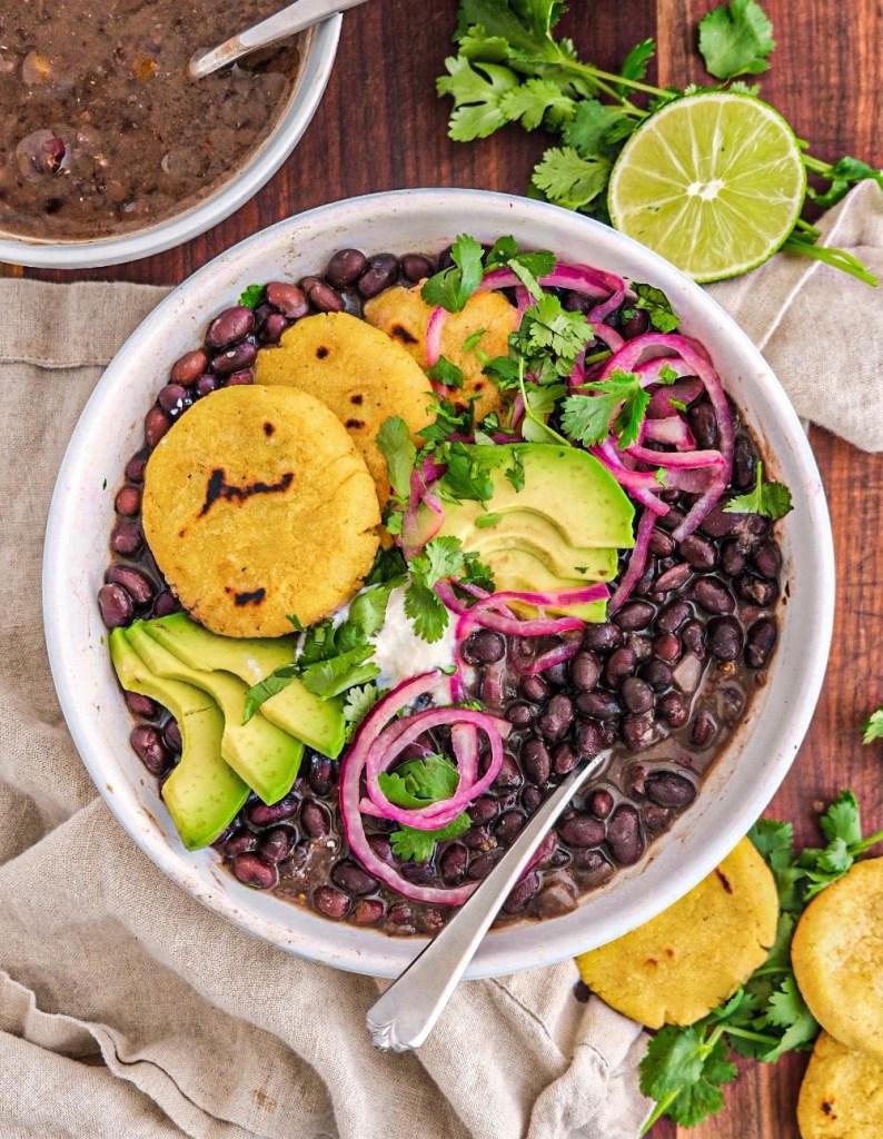 Instant pot vegan black bean soup masa harina griddle cakes easy
