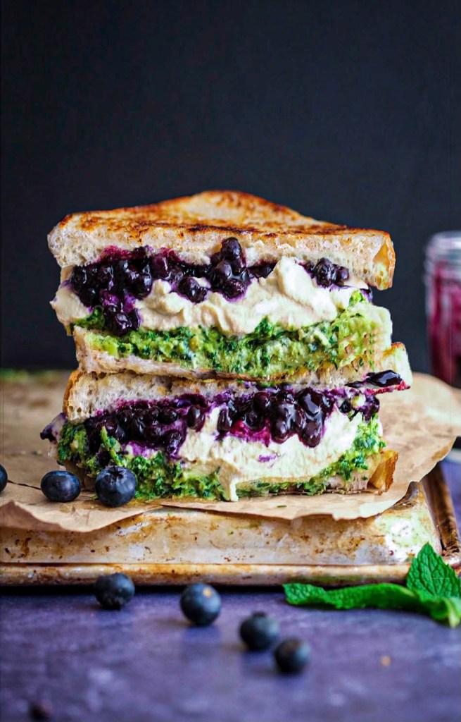 Vegan blueberry grilled cheese mint pesto recipe