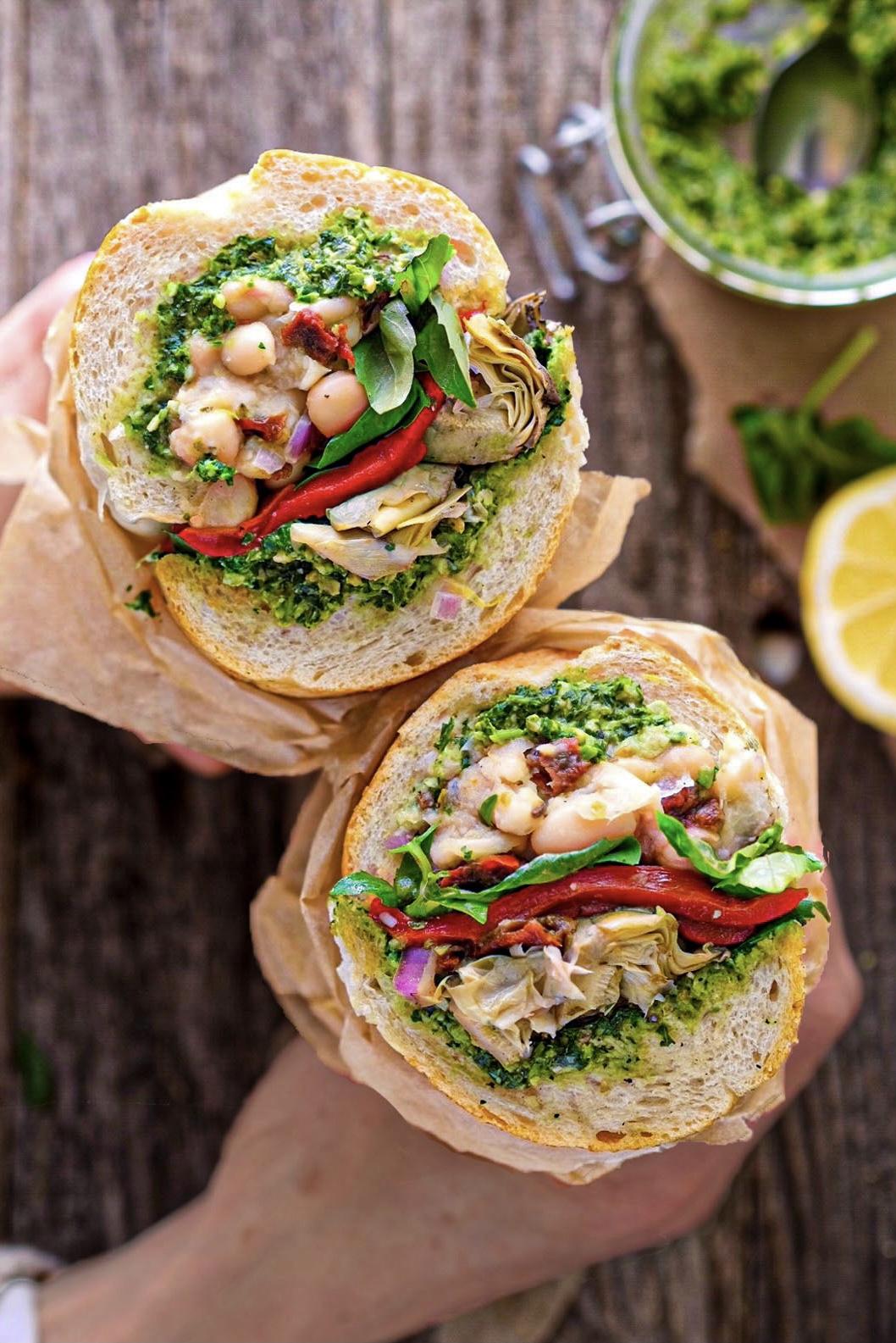 Vegan Antipasto Sandwich with Marinated White Beans