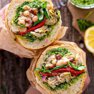 vegan antipasto sandwich